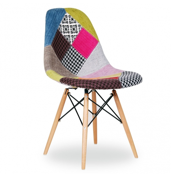 Chaise dsw r plique eames assise en tissu patchwork for Chaise coque eames