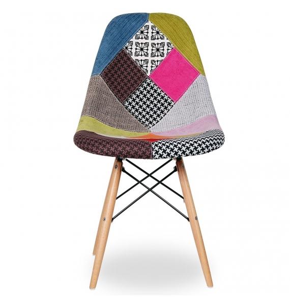 chaise dsw r plique eames assise en tissu patchwork. Black Bedroom Furniture Sets. Home Design Ideas