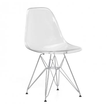 Chaise DSR style Eames Polycarbonate transparente claire